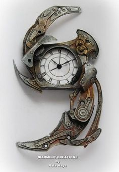 Steampunk Clock--I so need a big dramatic steamy clock for the library but these gorgeous art clocks are definitely out of the budget.