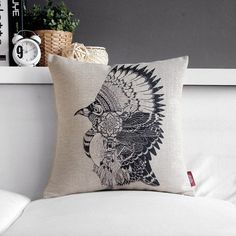 Bird Pillow Cover Indian Tribal Throw Pillow  Decorative Cushion Cover Native American Headdress on Etsy, $15.99