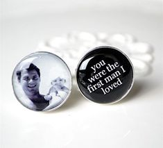 Personalised cufflinks gift for the father of the bride.
