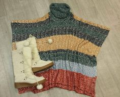 Get all your favourite fall colours in one great outfit! Rock this brand new H&M poncho and cute furry boots to work or school! Sure to have you looking fab & keeping cozy this fall! Used Clothing Stores, You Look Fab, Hey Girl, Guys And Girls, Juicy Couture, Trendy Fashion, Boho Chic, Autumn Fashion, Teen