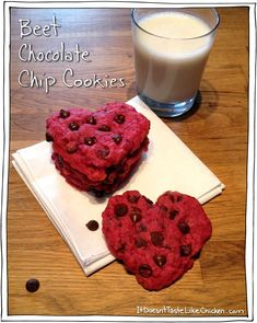 (Cooked Vegan) Beet Chocolate Chip Cookies - Easy Valentines Day Recipe, and its vegan! #itdoesnttastelikechicken. (Pinned for my choco'holic hubby lol. I have got to make these for him someday.)