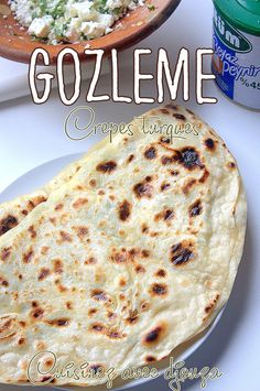 Gözleme, Turkish pancakes with cheese - - Gozleme Recipe, Turkish Cheese, Turkish Recipes, Ethnic Recipes, Bread Dough Recipe, Arabic Dessert, Quesadilla Recipes, Finger Foods, Bread Recipes