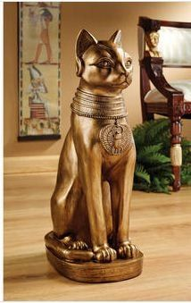 Bastet of Ancient Egypt Statue. Standing almost two feet tall, our large-scale, display-quality sculpture honors the ancient Egyptian goddess Bastet, said to be the protector of women and the giver of joy. Bastet Goddess, Egyptian Cat Goddess, Egyptian Cats, Egyptian Queen, Ancient Egypt, Ancient History, Tableaux Vivants, Cat Lovers, Hand Painted