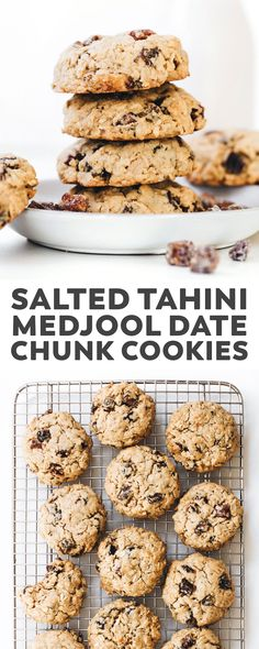 Tahini Medjool Date Chunk Cookies. Crunchy outside, sweet/salty and soft-baked inside, these oatmeal cookies just might be better than chocolate chip! Cookies crunchy Tahini Medjool Date Chunk Cookies (vegan + gluten-free) Vegan Dessert Recipes, Vegan Sweets, Whole Food Recipes, Cookie Recipes, Snack Recipes, Date Recipes Healthy, Date Fruit Recipes, Healthy Vegan Desserts, Healthy Eating