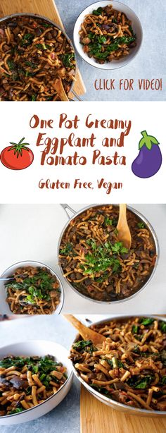 One Pot Creamy Eggplant Pasta!! Click through for the video (Gluten Free, Vegan) Click for the video!