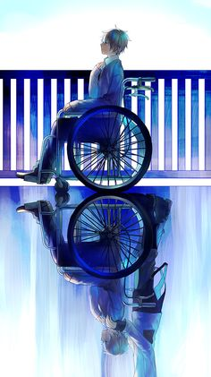 Tags: Anime, Wheel, Chair, Reflection, Wheelchair, Different Reflection, Pixiv Id 1143884