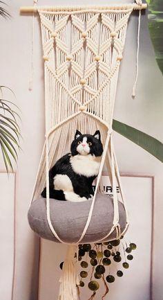 Macrame Creations-W & M Macrame Studio-Create With Love by MottaGiftsStudio Macrame Wall Hanging Diy, Macrame Plant Hangers, Macrame Art, Macrame Projects, Macrame Knots, Macrame Jewelry, Cat Crafts, Animal Crafts, Diy Cat Hammock
