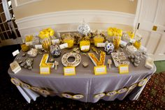 """Candy bar for the reception - I like that some of the candy is in dishes shaped like the letters of """"love""""!"""