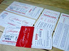 Movie ticket theme wedding invitation