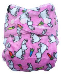 Bum Rarpz minky cloth nappy in Rapiti print.  Featuring bunny rabbit origami and candy coloured carrots with a baby pink background. NZ designed minky fabric from The Print Baker and custom milled for Rarpz Design - in stores now!