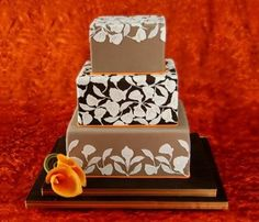 Three Tiered Square Fall Wedding Cake with Sugar Flowers