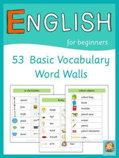 This set has 53 English word walls for your ESL lessons. They are a great visual help for introducing English vocabulary and cover all major topics from adjectives to weather. Visit my store and download the preview for more information.