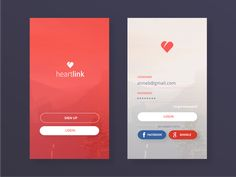 Login pages for fictional app HeartLink