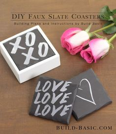 DIY Faux Slate Coasters #ValentinesDay