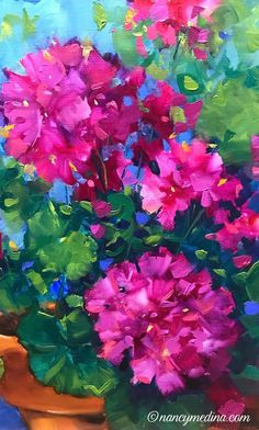 Thanks to everyone who joined me painting live geraniums tonight! What fun to share a bit of the holiday weekend with you right here in Flower Mound Studio (even if the pugs were snoring the whole time! Abstract Flowers, Watercolor Flowers, Watercolor Paintings, Painting Flowers, Watercolor Pencils, Watercolor Techniques, Art Paintings, Art Painting Gallery, Painting & Drawing