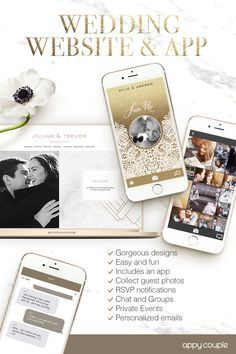 Your beautiful wedding website and app. Photos, events and RSVP's, chat, travel info...