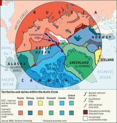 arctic land grab / the economist / oil and other natural resources and valuable trade routes / five countries are competing to claim the new land - canada, russia, norway, denmark and the usa Polar Ice Caps Melting, Deception Point, Canada States, United States, Greenland Iceland, Human Geography, Arctic Circle, Historical Maps, The Washington Post