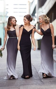 Ombre Chiffon Bridesmaid Dresses Summer Beach Maid of Honor Dresses Ombre Bridesmaid Dresses, A Line Prom Dresses, Black Wedding Dresses, Designer Wedding Dresses, Wedding Bridesmaids, Wedding Gowns, Halloween Bridesmaid Dress, Party Dresses, Dress Party