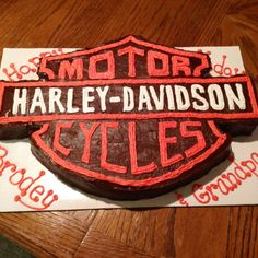Harley Davidson cake.  It was cut out of a 12x18 chocolate sheet cake, then iced with chocolate frosting and buttercream frosting. :)