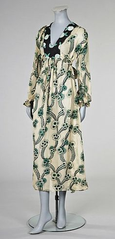 """Ossie Clark/Celia Birtwell Floating Daisies"""" printed chiffon dress, late 1960s with Alice Pollock printed label (KTA)"""