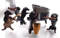 Black Dogs Dachshund MUSIC Classic BAND SET CERAMIC POTTERY Handmade Premium New