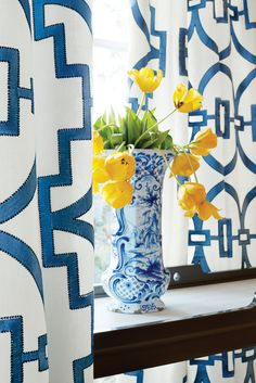 Draperies in Songyue Embroidery #fabric in #blue. #Thibaut