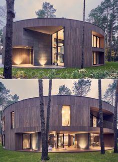 Circular Buildings, Unique Buildings, Modern Exterior House Designs, Cool House Designs, Building Exterior, Building Design, Duplex House Design, Dome House, Facade Design