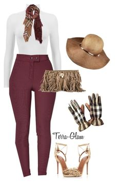 """Burberry & Wine"" by terra-glam ❤ liked on Polyvore featuring Burberry, V°73 and Aquazzura"