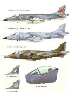 Hawker (subsequently Hawker Siddley, then British Aerospace/ BAE) Sea Harrier FRS1, Royal Navy Fleet Air Arm, & R.A.F. Harrier GR3.