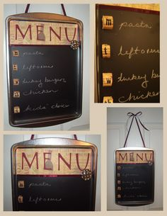 Love the cookie sheet theme for menu board