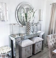 Home Dining Room Decor Table House Console table Living room White Furniture Console Table Living Room, Glam Living Room, Living Room Decor Cozy, Elegant Living Room, Living Room White, Room Decor Bedroom, Dining Room, Mirrored Furniture, Furniture Decor