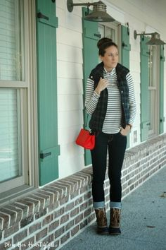Casual Holiday Weekend Outfit  |  Plaid vest  |  Striped turtleneck  |  Red cross body bag  |  Skinny Jeans  |  Bean Boots   |  Old Navy  |  Sock Bun  |  www.blessherheartyall.com