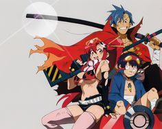 Awesome anime wallpaper from Tengen Toppa Gurren Lagann uploaded by leokizuya - Kamina, Simon and Yoko Female Characters, Anime Characters, Wallpaper Hq, Lagann Gurren, Gurren Laggan, Afro Samurai, Yoko Littner, Real Anime, Art Anime