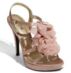 BP. Platinum 'Medina' Sandal Crinkled chiffon petals are gathered along the front of a whimsical evening sandal balanced on a sky-high heel and platform. By BP. Approx. heel height: 4 1/2″ with 3/4″ platform. BP. shoes. http://www.weddingfashioning.com/wedding-shoes/bridal-shoes-bp-platinum-medina-sandal.html
