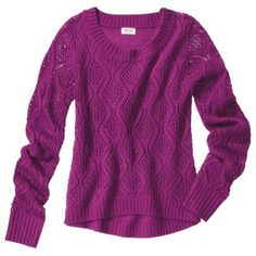 Mossimo Supply Co. Juniors Pointelle High Low Sweater - Assorted Colors Target but in cream