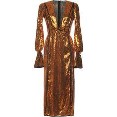 Paillette Embellished Sheath Dress | Moda Operandi (53 590 UAH) ❤ liked on Polyvore featuring dresses, orange, deep v neck dress, deep v neckline dress, brown sheath dress, brown sequin dress and low v neck dress