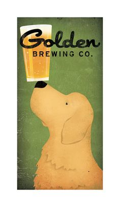 GOLDEN RETRIEVER Brewing Company Craft Beer graphic art giclee print 12x24 inches Signed Made to Order. $69.00, via Etsy.