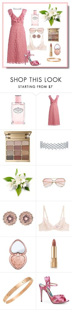 """Gardenia"" by yvonedelrey ❤ liked on Polyvore featuring Prada, Miu Miu, Stila, Ted Baker, L'Agent By Agent Provocateur, Too Faced Cosmetics, Dolce&Gabbana, Cartier and Gucci"
