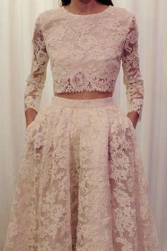 Lace long sleeve wedding dress #wedding #dress #fashion