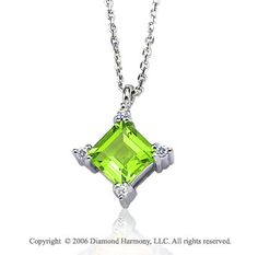 14k White Gold Princess Peridot Prong Diamond Necklace -> Description: This princess cut peridot sits in a diamond shape in decorated prongs of white gold. Show off your gemstone style when you wear this 14k White Gold Princess Peridot Prong Diamond Necklace. -> sku=NK3120 -> Price $255.00