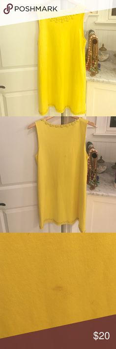 Bright Yellow JCrew Dress Bright yellow sleeveless dress with yellow bead design on top collar and bottom. Dress length is above the knee and I am 5'8 for reference. There is a small spot on the back of the dress which you can see in the pictures above. Material is 100% Cotton J. Crew Dresses Mini