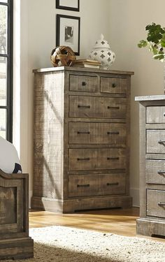 Meadow Casual Gray Wood Storage Drawer Chest