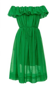 Off the Shoulder Dress with Self Tie Belt by PAULE KA Now Available on Moda Operandi