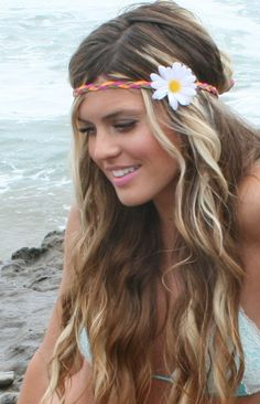 Custom white daisy Hippie Headband by hippieheadbands on Etsy