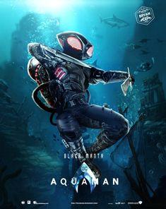 Aquaman - Black Manta Poster by Bryanzap on DeviantArt Aquaman Film, Dc Movies, Comic Movies, Comic Books, Marvel Vs, Marvel Comics, Scary Mermaid, Black Manta, Dc Comics Characters