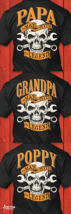 The Man The Myth The Legend tee's hoodies and V-necks just in time for Fathers Day. A sure hit for any Harley riding, wrench spinning, hot rod building grandfather. It won't matter if he's hanging out in the man cave or riding with friends he'll be loving that you call him the legend. We have Papa, Dad, PawPaw, Pops, Pop Pop, Poppy, PaPaw, Grandpa, Daddy, Pappy, Pop, Pa, Poppa, Opa, Grampy and Gramps with more to come.