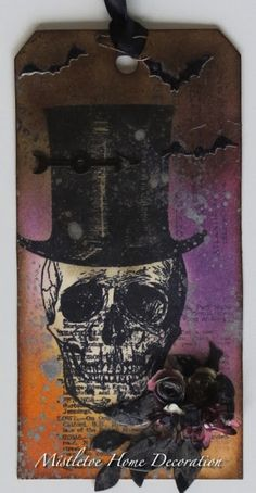12 tags of 2016 - May - Tim Holtz Undertaker - Halloween tag with skull