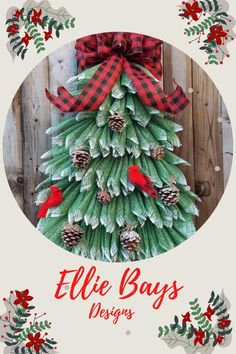 Best Seller! Christmas tree wreath made with Green burlap with fake snow, snow covered pinecones, 2 cardinals and your choice of red/black or Black/White ribbon, Can be used all winter long as an outdoor tree. Your front door would look adorable with this tree on it to welcome your guests.
