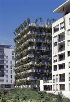 """The """"Tower Flower,"""" designed and built by architect Edouard Francois in Paris's 17th arrondissement, contains 380 giant concrete flower pots embedded in each of the apartment building's balconies."""
