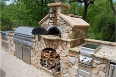 Outdoor Kitchen with Pizza oven-Home and Garden Design Ideas